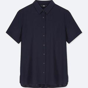 Women Rayon Short Sleeve Blouse Navy 2019 Version